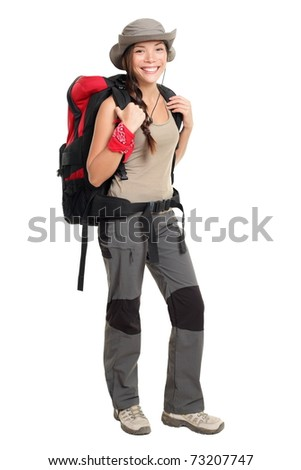 Hiker woman isolated on white background standing in full length. Beautiful Mixed race Asian / Caucasian female in outdoors hiking outfit. - stock photo