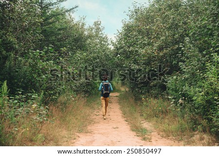 Hiker young woman with backpack walking on path among trees in summer forest, rear view - stock photo