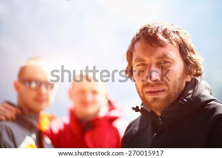 hikers in the Hamalayas mountains. Trek around Annapurna mount - stock photo