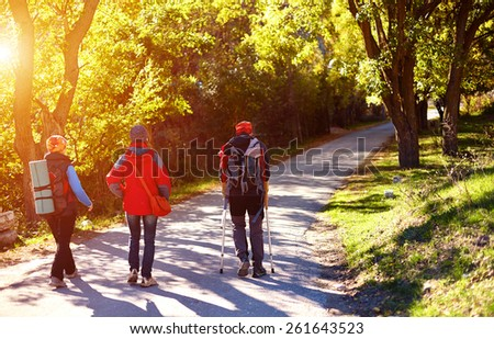 hikers on the road in the Crimea mountains.  - stock photo