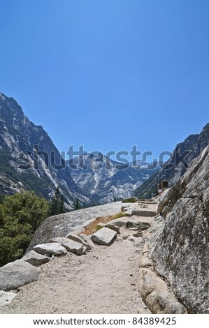Hikers overlooking Mist Falls Trail, Kings Canyon National Park - stock photo
