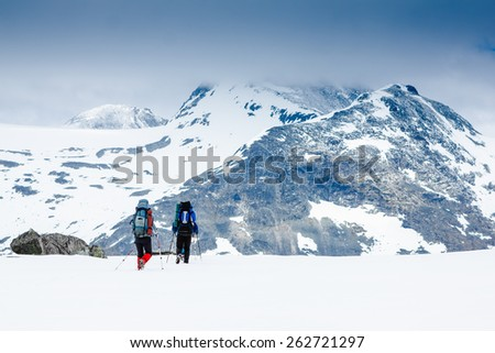 Hikers people hiking - healthy active lifestyle  - stock photo