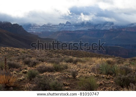 Hiking across the plateau on the Clear Creek Trail leading to the entrance to Clear Creek Canyon, one can view numerous side canyons and spectacular snow-capped cliffs following an overnight storm. - stock photo