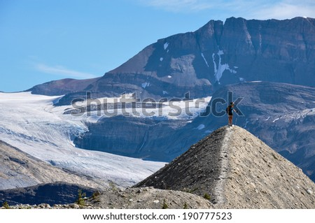 Hiking as high as you can for beautiful views in Yoho National Park, British Columbia, Canada - stock photo