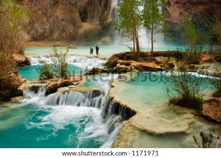 Hiking at beautiful Havasu Falls in Arizona. - stock photo