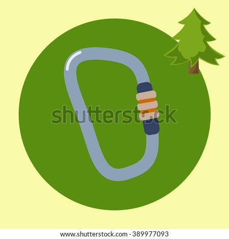 Hiking equipment Travel and exploration flat design silhouette illustrations. Mountaineering carabiner tool  - stock photo