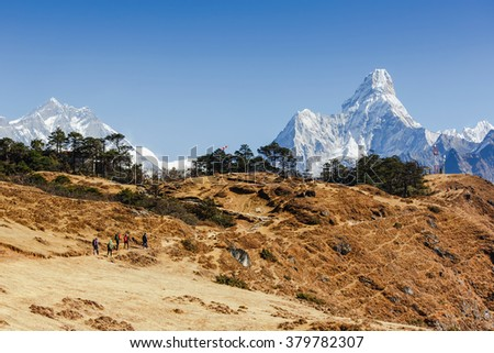 Hiking Everest Base Camp trek. Greatness of nature. Ama Dablam peak (6856 m). Nepal, Himalayas  - stock photo