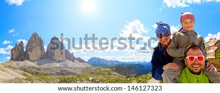 Hiking, Family on hike, Tre Cime di Lavaredo - Dolomite - Italy - stock photo