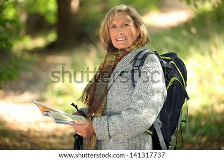 Hiking for Seniors - stock photo