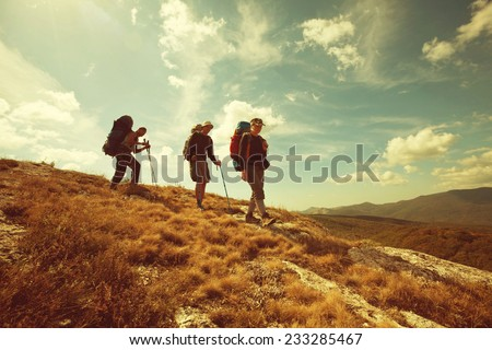 hiking group - stock photo