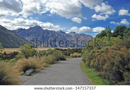 Hiking in Aoraki//Mount Cook National Park, South Island, New Zealand - stock photo