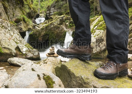 hiking in bavaria and european Alps - stock photo