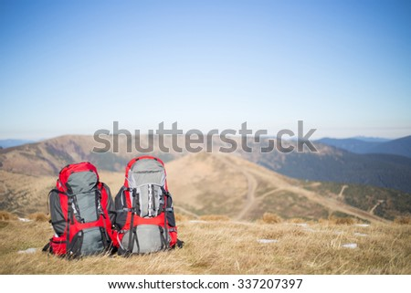 Hiking in Caucasus mountains. - stock photo