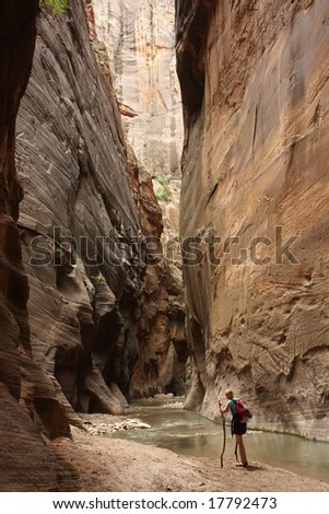 hiking in red canyon - stock photo