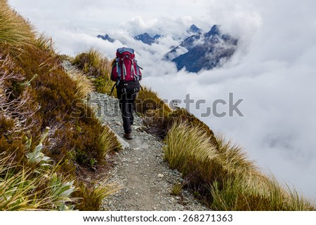 Hiking in South Alps on the Routeburn track, South island of New Zealand - stock photo