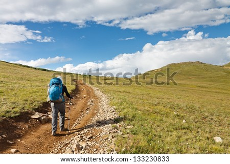 Hiking in the Tundra of the Rocky Mountains, Colorado, USA - stock photo