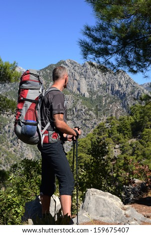 Hiking in Turkey. Lycian Way. Hiker  looking into distance - stock photo
