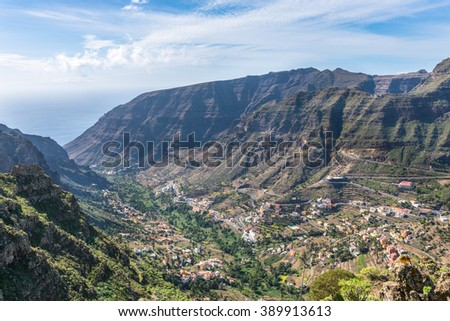 Hiking on La Gomera. The Valle Gran Rey, the beautiful canyon on the Canary island La Gomera is located on the west side of the island. Gomera has a unique nature that invites to hike - stock photo