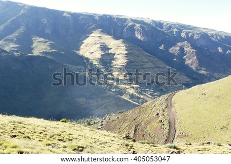 Hiking on ridge tour in Simien mountains, Ethiopia - stock photo