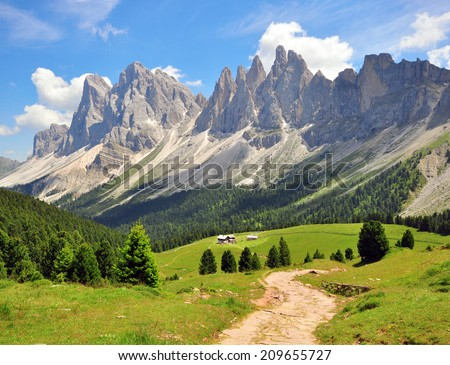 Hiking path in Alps, Italy - stock photo