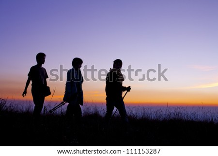 Hiking scene - stock photo