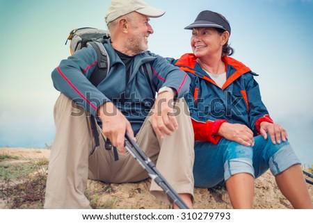 hiking sportive healthy seniors - stock photo