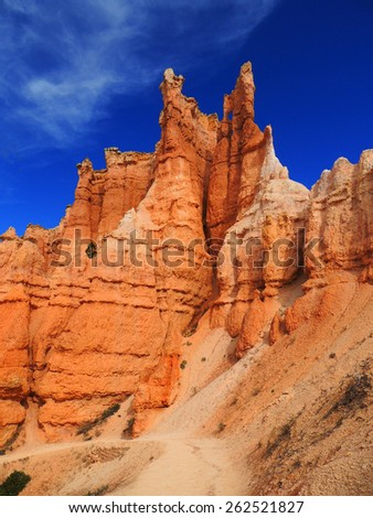 hiking the queen's garden trail in bryce canyon national park, utah  - stock photo