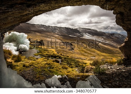 Hiking to the source of the Amazon River (Mismi volcano), remote south Peru, framed image of vulcanic landscape - stock photo