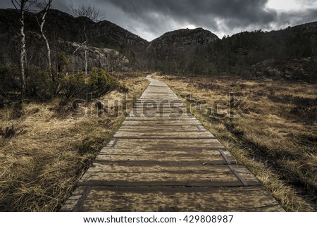 Hiking trail and alpine landscape of the Preikestolen (Pulpit rock) and Lysefjord area in Rogaland, Norway - stock photo