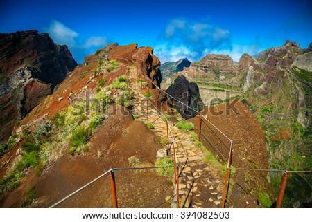 hiking trail from Pico do Arieiro towards Pico Ruivo, Madeira, Portugal - stock photo