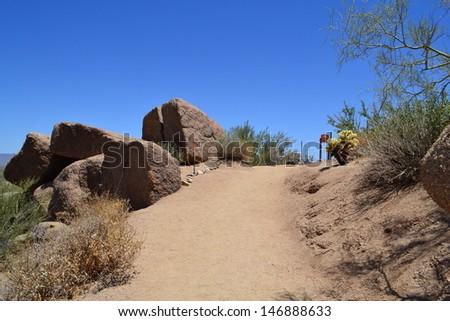 Hiking Trail in the Arizona Desert - stock photo