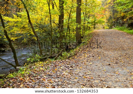 Hiking Trail in the Fall beside a Creek - stock photo