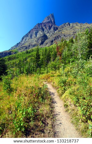 Hiking trail in the Many Glacier area of Glacier National Park - stock photo
