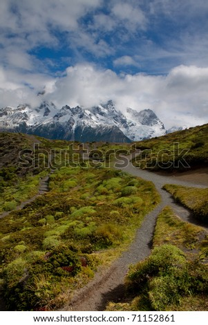 Hiking trail in Torres del Paine National Park, Chile - stock photo