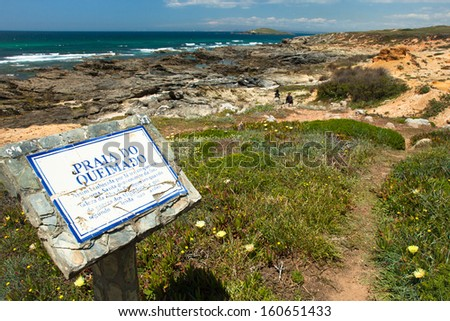 hiking trail portugal , rota vicentina - stock photo