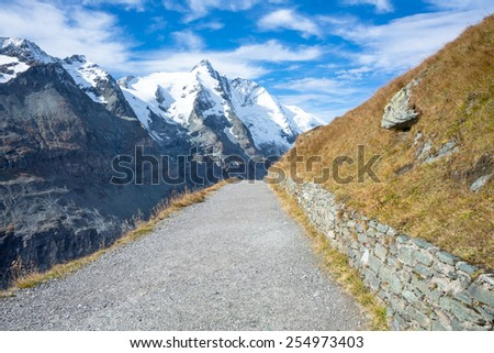 hiking trail to Franz Josefs Hohe Glacier, Hohe Tauern National Park, Austria - stock photo