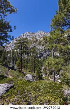 Hiking trails near Lake Tahoe view of the mountains in California - stock photo