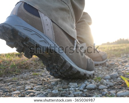 hiking trekking boots outdoors - stock photo