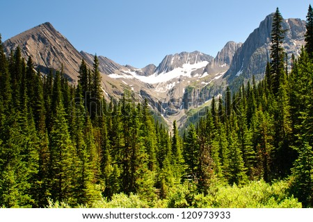 Hiking views Kananaskis Lakes area Peter Lougheed Provincial Park - Turbine Canyon - stock photo