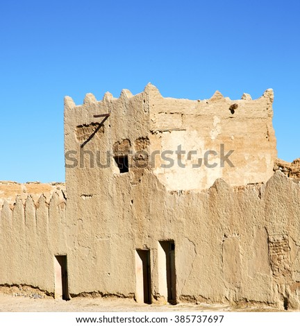 hill africa in morocco the old contruction       and   historical village - stock photo