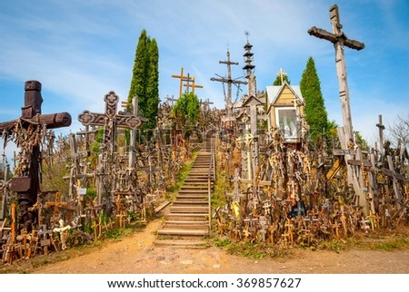 Hill of crosses, Kryziu kalnas, Lithuania - stock photo