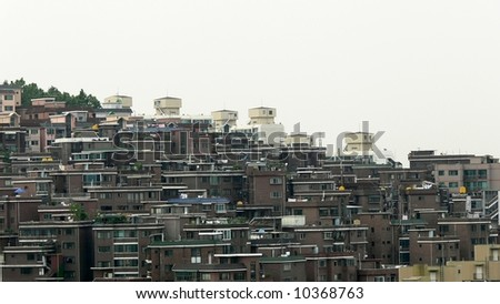 Hill of Houses in Seoul, South Korea - stock photo