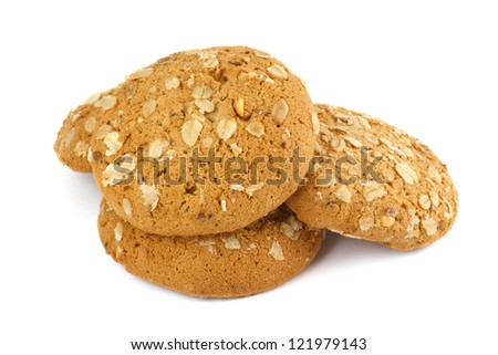 Hill of oatmeal cookies isolated on white background - stock photo
