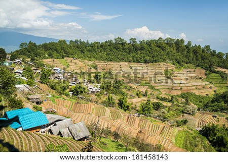 Hill tribe village in ang khang in Northern Thailand  - stock photo