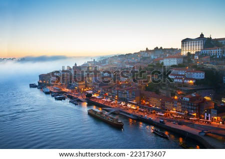 hill with old town of Porto at blue night, Portugal - stock photo