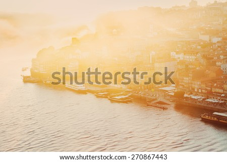 hill with old town of Porto with sot light of  sunset, Portugal - stock photo