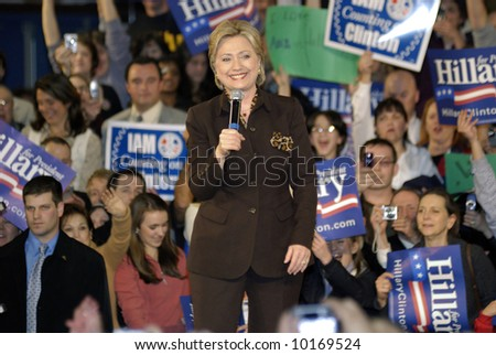 Hillary Clinton speak at Rally for Presidential Campaign - stock photo