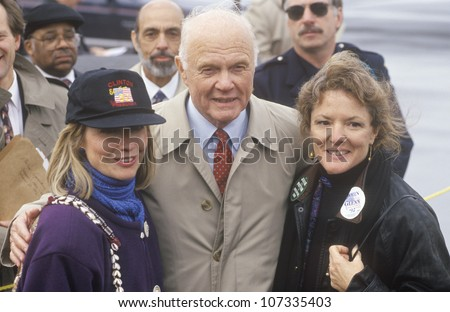 Hillary Rodham Clinton and former Senator John Glenn at a Ohio campaign rally in 1992 on Bill Clinton's final day of campaigning in Cleveland, Ohio - stock photo