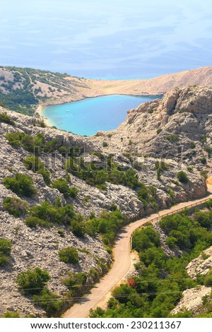 Hills covered with bushes on the Dalmatian coast line near Adriatic sea - stock photo