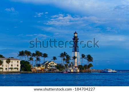 Hillsboro Inlet lighthouse in Pompano Beach, Florida - stock photo